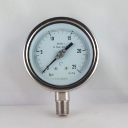 "Stainless steel pressure gauge 25 Bar diameter dn 100mm bott. 1/2"" NPT"