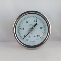 Stainless steel pressure gauge 100 Bar diameter dn 100mm back