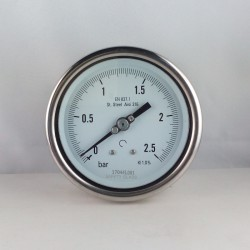 Stainless steel pressure gauge 2,5 Bar diameter dn 100mm back