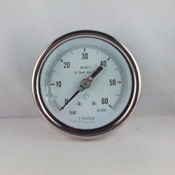 Stainless steel pressure gauge 60 Bar diameter dn 100mm back