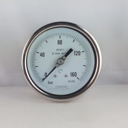 Stainless steel pressure gauge 160 Bar diameter dn 100mm back