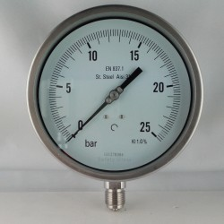 "Stainless steel pressure gauge 25 Bar dn 150mm bottom 1/2""NPT"