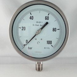"Stainless steel pressure gauge 40 Bar dn 150mm bottom 1/2""NPT"