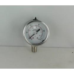 Stainless steel pressure gauge 1 Bar diameter dn 40mm bottom