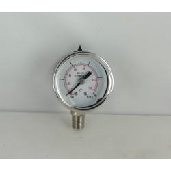 Stainless steel pressur e gauge 10 Bar diameter dn 40mm bottom