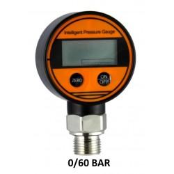 "Digital Pressure Gauges DN 63mm 0-60 BAR kl 0,5% Aisi Bottom Connection 1/2""BSPP"