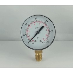 Dry pressure gauge 0,6 Bar diameter dn 63mm bottom