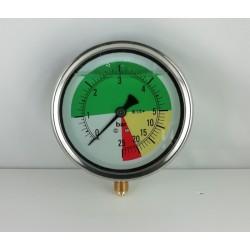 Glycerine filled ISOMETRIC pressure gauge colored dials 25 Bar dn 100mm bottom