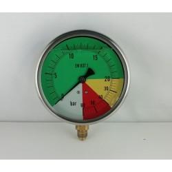 Manometro ISOMETRICO quadrante colorato glicerina 60 Bar dn 100mm radiale
