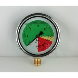 Glycerine filled ISOMETRIC pressure gauge colored dials 60 Bar dn 100mm bottom