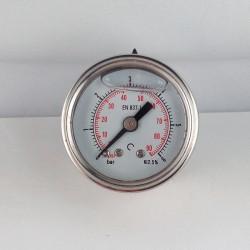 Stainless steel pressure gauge 6 Bar diameter dn 40mm back