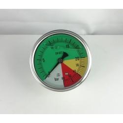 Glycerine filled ISOMETRIC pressure gauge colored dials 25-60 Bar dn 63mm back