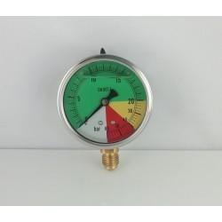 Glycerine filled ISOMETRIC pressure gauge colored dials 25-60 Bar dn 63mm bottom